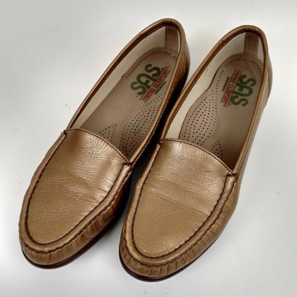 3360184777 SAS Shoes | Tripad Womens Loafers Gold Leather Size 95s | Poshmark